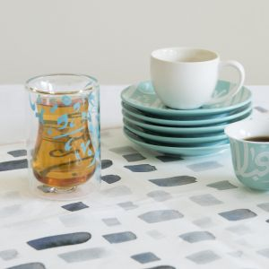 Set of 2 Accents Double Walled Teacups - Turquoise