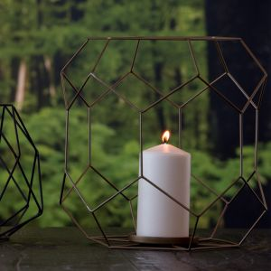 Bronze Iron Wire and Glass Ashkaal Candle Holder (L)