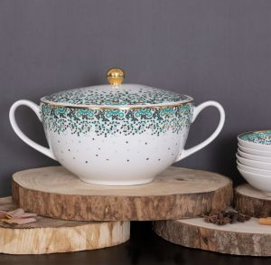 Mirrors Soup Tureen - Emerald
