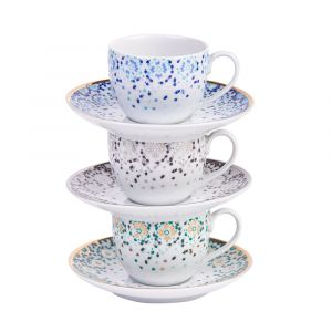 Mirrors Espresso Cup and Saucer - Silver